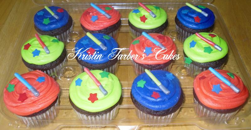 Star wars light saber cupcakes